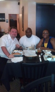 Lorenzo and Jeff's last meal together before Lorenzo's return to prison. Also pictured is La Tasha Williams